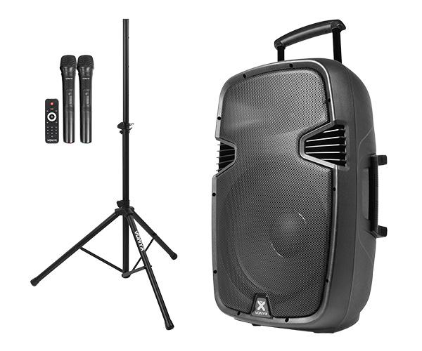 Ljudsystem med en 15 tums högtalare, stativ och två mikrofoner